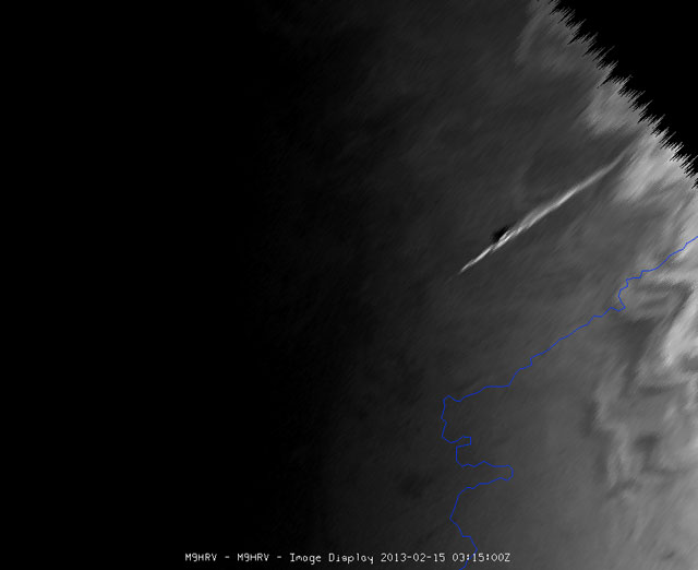 Weather sattelite Meteosat 10 has taken an image of the meteriote shortly after entering the atmosphere (Copyright 2013 © EUMETSAT)