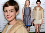 Anne Hathaway is retro chic in shimmery mini as she joins Amanda Seyfried at Vanity Fair party