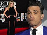 'It will be my go soon': Robbie Williams 'propositions' Taylor Swift as Sharon Osbourne brings up her ex Harry Styles' 'wand' at Brit Awards
