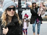 Baby it's cold outside! Sarah Jessica Parker's cute twins Marion and Tabitha step out in their favourite matching plaid parkas