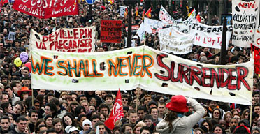 People march during a protest in Paris against the first job contract law. Photograph: Remy de la Mauviniere/AP