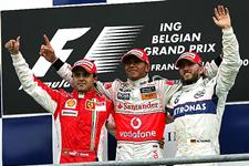 Felipe Massa (BRA) Ferrari, Lewis Hamilton (GBR) McLaren and Nick Heidfeld (GER) BMW Sauber F1 on the podium. Formula One World Championship, Rd 13, Belgian Grand Prix, Race, Spa-Francorchamps, Belgium, Sunday, 7 September 2008