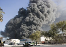 MASSIVE EXPLOSION: As many as 20 of the 83 buildings in Al Quoz industrial area were ablaze following the massive explosion. (Kamelia Dimitrova)