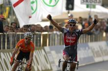 Philippe Gilbert (Silence-Lotto) out-sprinted Samuel Sanchez (Euskaltel-Euskadi) to take the biggest win of his carrer.