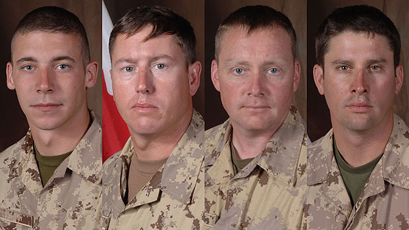 From left to right: Pte. William Cushley, Warrant Officer Frank Mellish, Warrant Officer Richard Nolan and Sgt. Shane Stachnik. An incident report by a U.S. military unit suggested they died by friendly fire in Afghanistan in September 2006, which the Canadian military says is untrue.