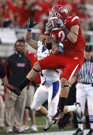 Utah's Brian Blechen breaks up a pass to San Jose's Josh Harrison as the University of Utah plays San Jose State on Saturday. The Utes slaughtered the Spartans 56-3.