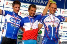 The elite men's podium (l-r): Sylvain Chavanel, Nicolas Vogondy and Laszlo Bodrogi.