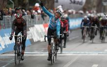 Linus Gerdemann (Milram) takes the win on the first stage of Tirreno-Adriatico
