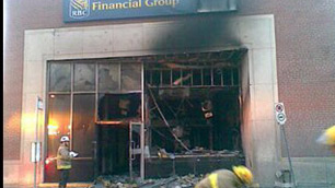 Fire investigators were at the scene of a suspicious fire at the Royal Bank at Bank Street and First Avenue early Tuesday morning.