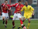 Fabian Delph battles for possession at Crewe