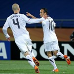 Landon Donovan of the United States celebrates scoring