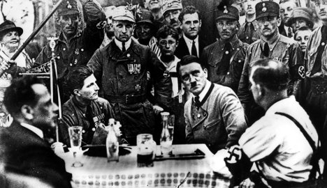 A file photo of Hitler in 1925 at an NSDAP meeting in Bavaria. Photo: DPA