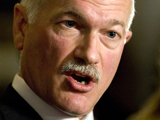 NDP Leader Jack Layton speaks with the media after Parliament was prorogued on Parliament Hill in Ottawa, Thursday, Dec. 4, 2008. (Fred Chartrand / THE CANADIAN PRESS)