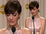 Emotional Anne Hathaway breaks down in tears during post-Oscars interview... as it's revealed she worked on speech to make herself more 'likeable'
