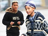 Posh kids! Jaden Smith wraps in furry jumper as he films music video in New York... and stylish Willow gets a cameo