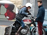 Just hanging out! Andrew Garfield dangles upside down as Spider-Man... as Shailene Woodley revs things up on a motorbike