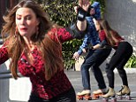 She's on a roll! Sofia Vergara shows off her skating skills shooting scenes with co-star Ty Burrell on the set of Modern Family