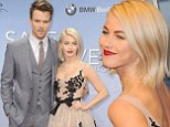 Pale and very interesting! Julianne Hough contrasts her light complexion with dark plum lips as she and Josh Duhamel attend Safe Haven premiere in Berlin