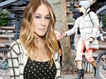 What a transformation! Sarah Jessica Parker is back to her stylish best in a dotty dress after pairing high-heeled boots with tracksuit pants