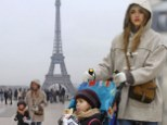 Jessica Alba and her daughter Honor Marie go sightseeing at the Eiffel Tower