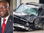 Collision: The SUV of Marco McMillian (left) was involved in a head-on collision on Tuesday morning with an unknown driver behind the wheel. Police would say only that they had a 'person of interest' in custody in relation to the politician's murder