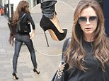 Balancing act: Victoria Beckham teams her pencil-thin heels with super skinny jeans on shopping trip with sister