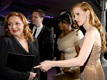 Her biggest supporter: Jessica Chastain and her grandmother attend the Oscars Governors Ball in Hollywood on Sunday