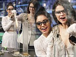 Test tube duo: Selena Gomez and Vanessa Hudgens conduct science experiments on Spanish TV show