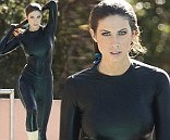 Katherine Webb showed off some cool tricks as she plunged into the water