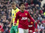 First blood: Shinji Kagawa scored Manchester United's first of the afternoon