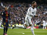 Winning moment: Real Madrid captain Sergio Ramos headed the winner with nine minutes remaining