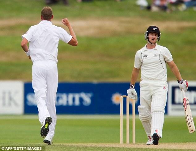 Rare joy: Broad celebrates as New Zealand's Neil Broom gets caught with LBW