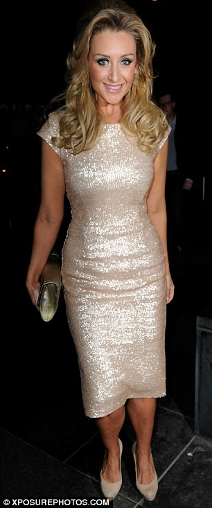 Shine bright: The actress wore a flattering and very pretty pearl coloured dress with matching heels