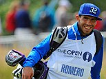 Fan: Carlos Tevez caddied for Andres Romero of Argentina on the final day of The Open Golf Championship