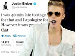 Justin Bieber has apologised to fans for appearing late on stage at London's O2 Arena on Monday night