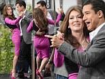 Lisa Vanderpump and partner Gleb Savchenko show some dance moves to Mario Lopez a