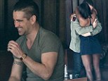A VERY friendly farewell! Colin Farrell gives mystery woman a goodbye hug at Hollywood hotel