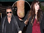 Time for a manicure? Al Pacino, 72, reveals yellow and unruly fingernails as he dines at upscale restaurant with younger girlfriend Lucila Solá, 32