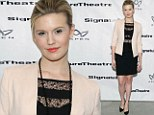 Just a hint of razzle dazzle! Maggie Grace displays her bra in a chic black lace dress as she attends opening of Broadway show