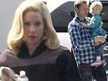 Newlywed Christina Applegate emerges for first time since nuptials as she gets a visit from her family on Anchorman set