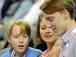 Jodie Foster and her boys Charles and Kit make a rare public appearance as they watch the 2013 LA Tennis Challenge