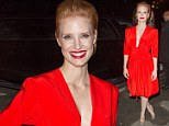 A Chastain classic: Jessica makes sure all eyes are on her at Paris Fashion Week in plunging red dress