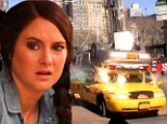A car was dropped by a crane onto a yellow taxi on the set of Amazing Spiderman 2 this afternoon in New York City while Shailene Woodley was filming