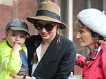 Fit family: Miranda Kerr took her son Flynn to a kid's gym in Los Angeles, California on Monday