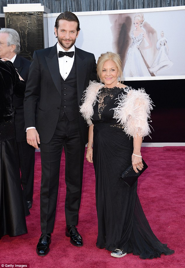 Dapper: Bradley looked great on the red carpet at The Dolby Theatre with his mother Gloria Cooper, but obviously decided to change his look