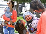 Her little Angel! Alessandra Ambrosio and daughter Anja coo over bouncing baby Noah on family outing