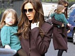 Just like mummy... without the heels! Harper Beckham shows off her growing locks and stylish outfit but goes shoe-less for day with Victoria