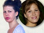 That's what you call a trout pout! Las Vegas star Nikki Cox displays huge swollen lips as she shops with husband Jay Mohr