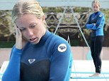 Glum Kendra Wilkinson looks fed up during yet another practice for TV show Splash