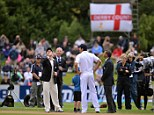 Watching the coin: New Zealand captain Brendon McCullum (left) wins the toss as England captain Alastair Cook